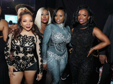 LOS ANGELES, CA - JUNE 25: (L-R) Tameka Cottle, LaTocha Scott, Tamika Scott, and Kandi Burruss of Xscape backstage at the 2017 BET Awards at Microsoft Theater on June 25, 2017 in Los Angeles, California. (Photo by Neilson Barnard/Getty Images for BET)